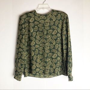 Vintage Kasper Green Paisley Blouse Top 10
